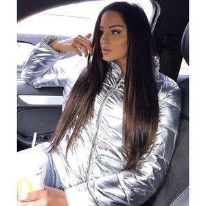 Mia | Silver Metallic Puffer Coat